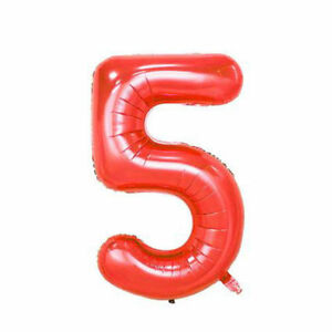 40-034-Giant-Hot-Red-Five-Year-Old-Baby-First-Birthday-5-Month-Number-Float-Balloon