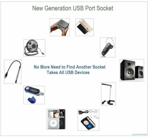 Multi Wall Plug Socket 2Gang 13A With// W.out USB Charger Port Outlets Flat Plate