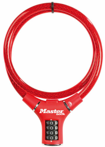 Fahrradschloss MasterLock Kabelschloß rot Vinylbeschichtet Zahlenschloss