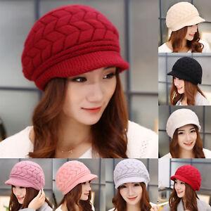 Women-Crochet-Knit-Beret-Girl-Baggy-Slouchy-Beanie-Winter-Ski-Hat-Warm-Cable-Cap