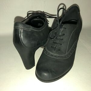 ECCO-Women-039-s-37-US-6-6-5-Black-Nubuck-Leather-Lace-Up-Heeled-Oxford-Shoes