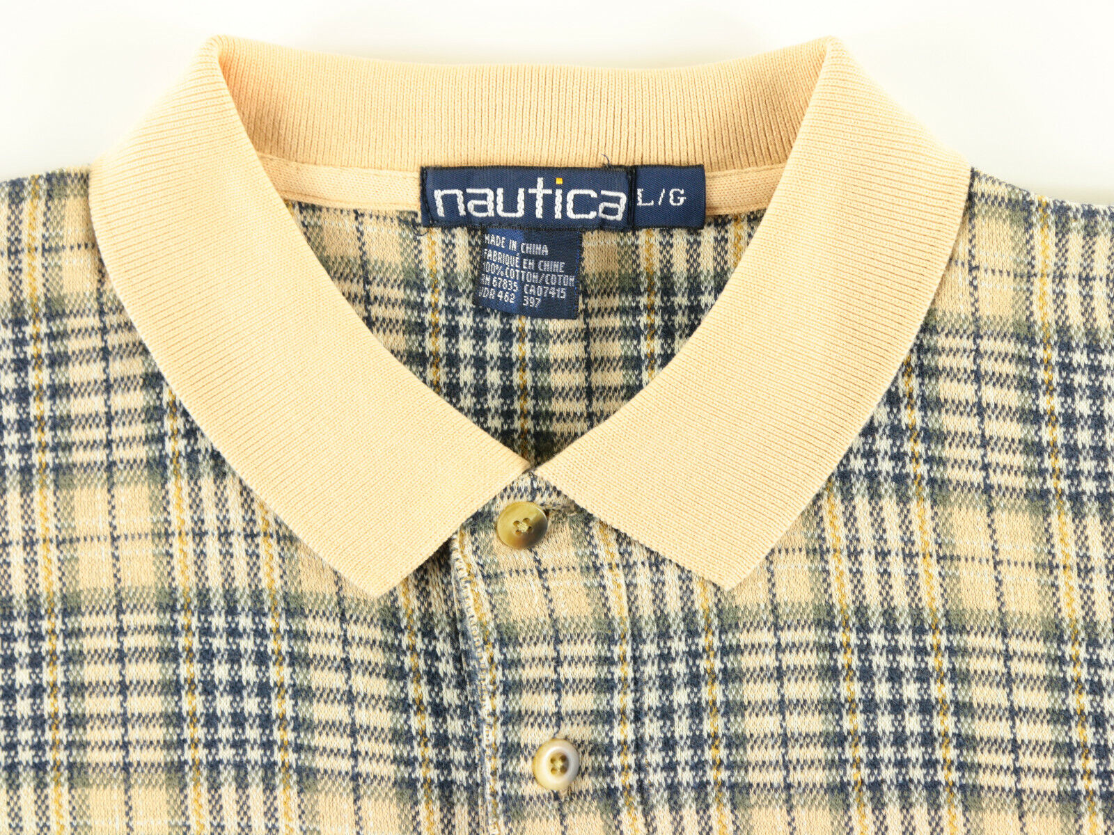 NAUTICA POLO SHIRT SIZE LARGE BEIGE GRAY NAVY BLU… - image 4