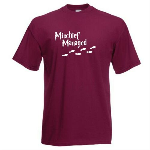 Mischief Managed Printed T-Shirt Harry Potter Wizard Witchcraft Spell Charm Owl