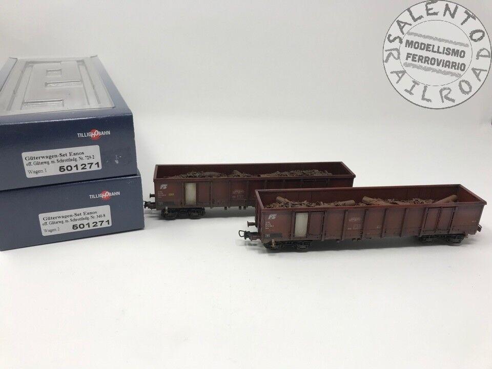 TILLIG 501271 set 2 Waggons Gondel FS mit Laden Schredt - alt