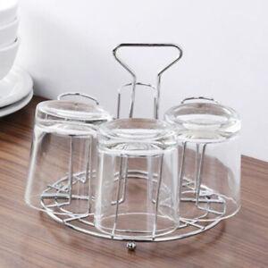 Metal Mug Tree Holder 6 Cups Coffee Tea Glass Cup Rack Storage Stand Drain Rack
