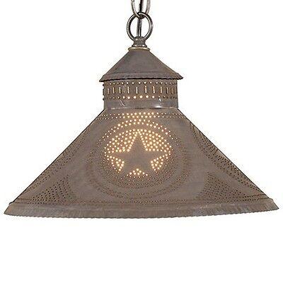 Irvins Country Tinware Stockbridge Shade Light in Blackened Tin w/ Stars
