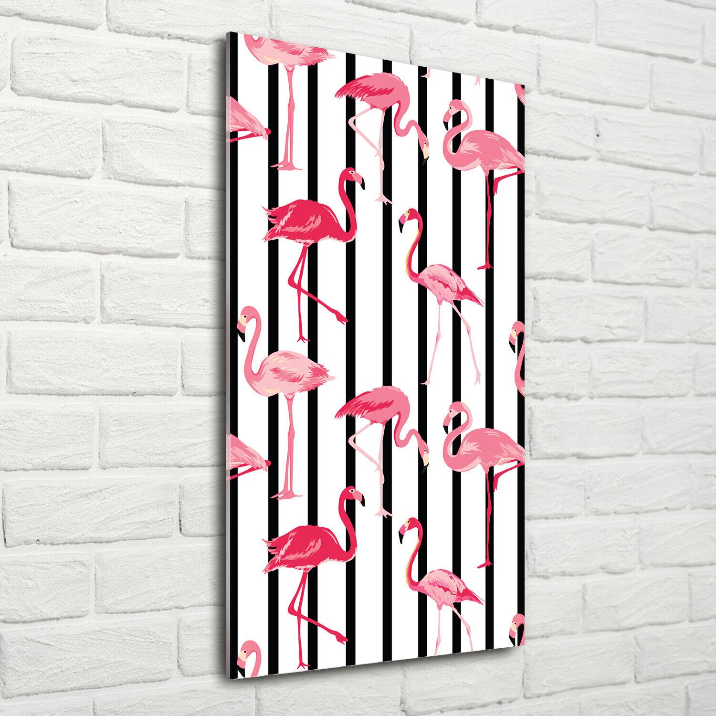Wand-Bild Kunstdruck aus Acryl-Glas Hochformat 70x140 Flamingos Streifen