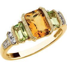 Genuine Emerald Cut Citrine & Peridot Gemstones & Diamonds Ring 14K. Yellow Gold