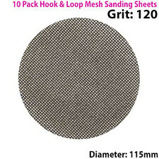 10x 120 Grit Silicon Carbide Mesh 115mm Round Sanding Discs –Hook & Loop Backing
