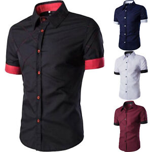 508cca9d2 Men Casual Shirt Button Down Slim Fit Short Sleeve Formal Blouse ...