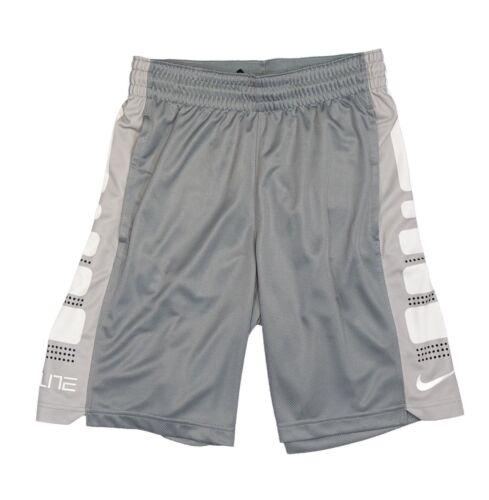 Nike NWT Men/'s Gray//White  Elite Stripe DRI-FIT Basketball Shorts