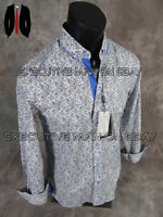 Mens Coogi Luxe Button Dress Shirt Black And Blue Paisleys With Stretch