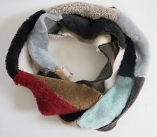 CHAS MACKENZIE SHEARLING Real Fur Patchwork COWL NECK Infiinity Scarf ENGLAND