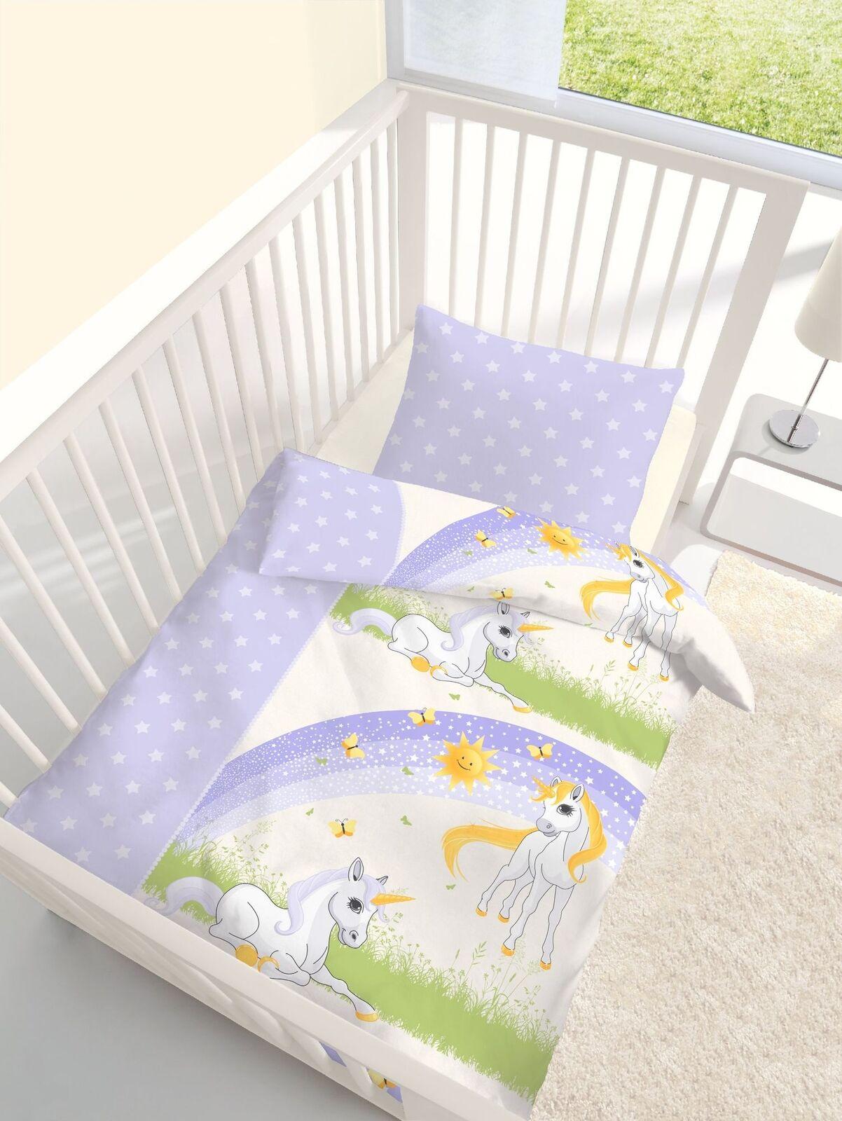 Unicorn Einhorn Baby Bed Linen Set 100x135 +15 11 16 23 5 8in 100% Cotton