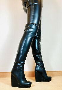 Gr.42 TOP ! Exklusiv Sexy Damen Schuhe Overknee Wedges