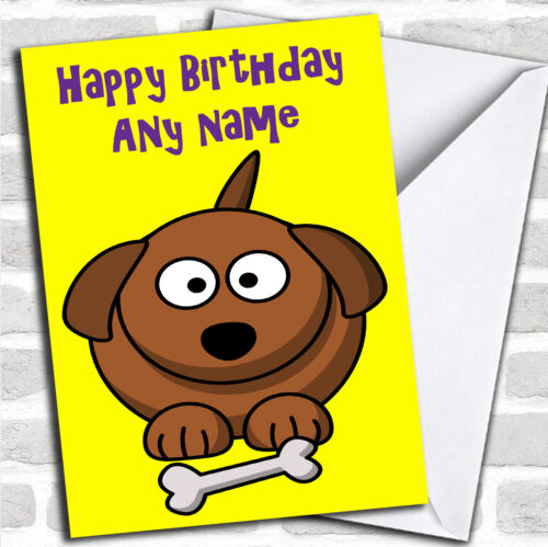 Cartoon Dog /& Bone Birthday Customised Card