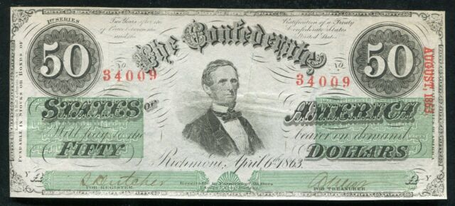 T-57 1863 $50 FIFTY DOLLARS CSA CONFEDERATE STATES OF AMERICA CURRENCY NOTE AU