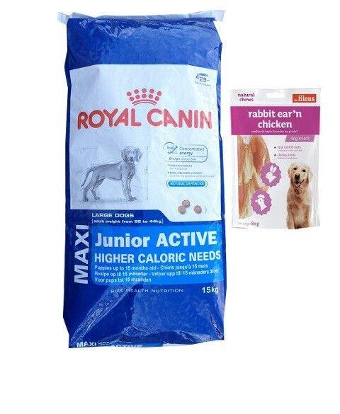 15kg Royal Canin Maxi Junior Active Activ Hundefutter + 80g Fleischsnacks