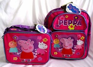 """Peppa The Pig 12"""" Flowers Allover Backpack and Matching Peppa The Pig Lunchbox"""