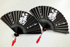 2 JAPANESE PAPER BLACK HAND FAN WHITE LUCK CHINESE FANCY DANCE BIRTHDAY PARTY