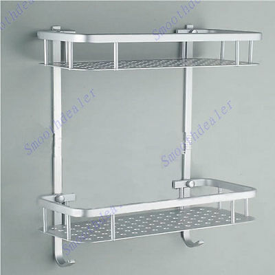 Double Layer Storage Rack Aluminum Space Bathroom Soap Shelf Holder Basket Hooks