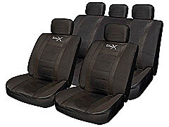 Car seat covers leather effect pads wheel glove Black PROTECTS against wear