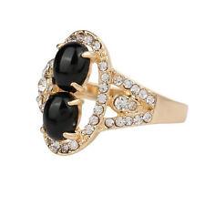 ORO nero due pietre Fiore Donna Dito medie dimensioni o 17 mm Anello FR272