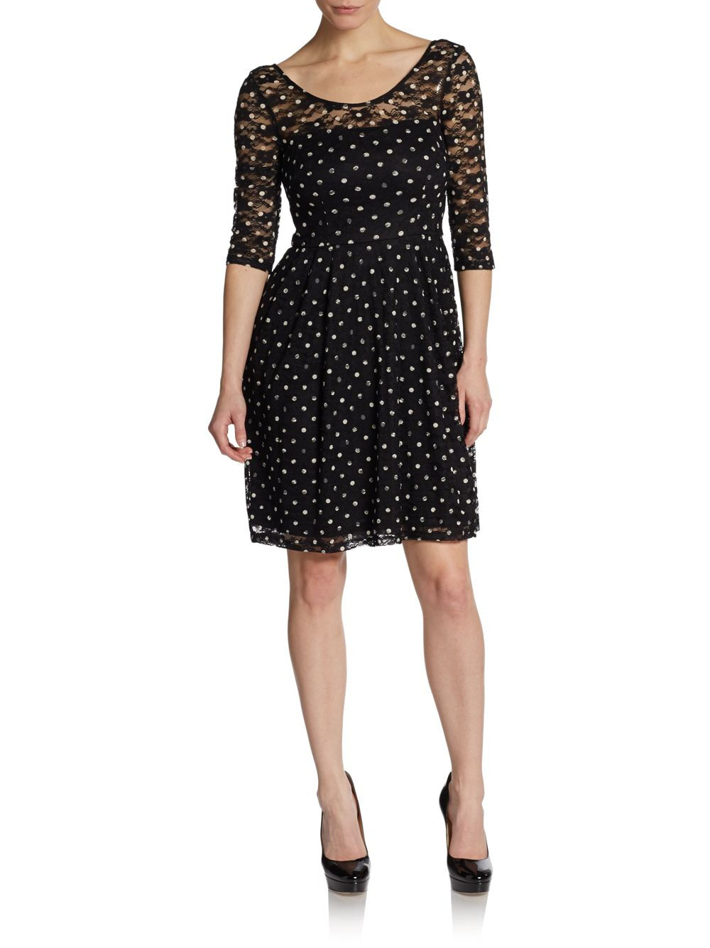 NWT BETSEY JOHNSON schwarz Dotted Lace Illusion Dress Polka 3 4 Sleeves