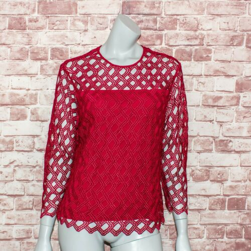 ANNE FONTAINE Women's REDIANA Lace Blouse Red Size
