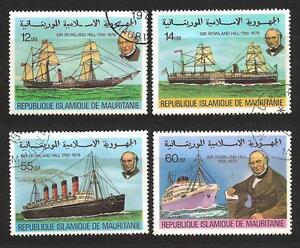 Bateaux-Mauritanie-106-serie-complete-de-4-timbres-obliteres