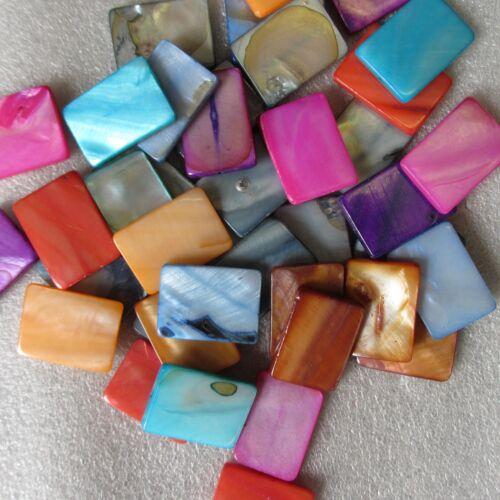 50 Mother of Pearl Rectangular Beads 18 x 24mm 8 Cols Craft Jewllery 20-40