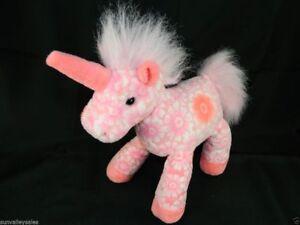 Toys R Us Geoffrey Pink Unicorn Plush Stuffed Animal Flowers Toy Euc