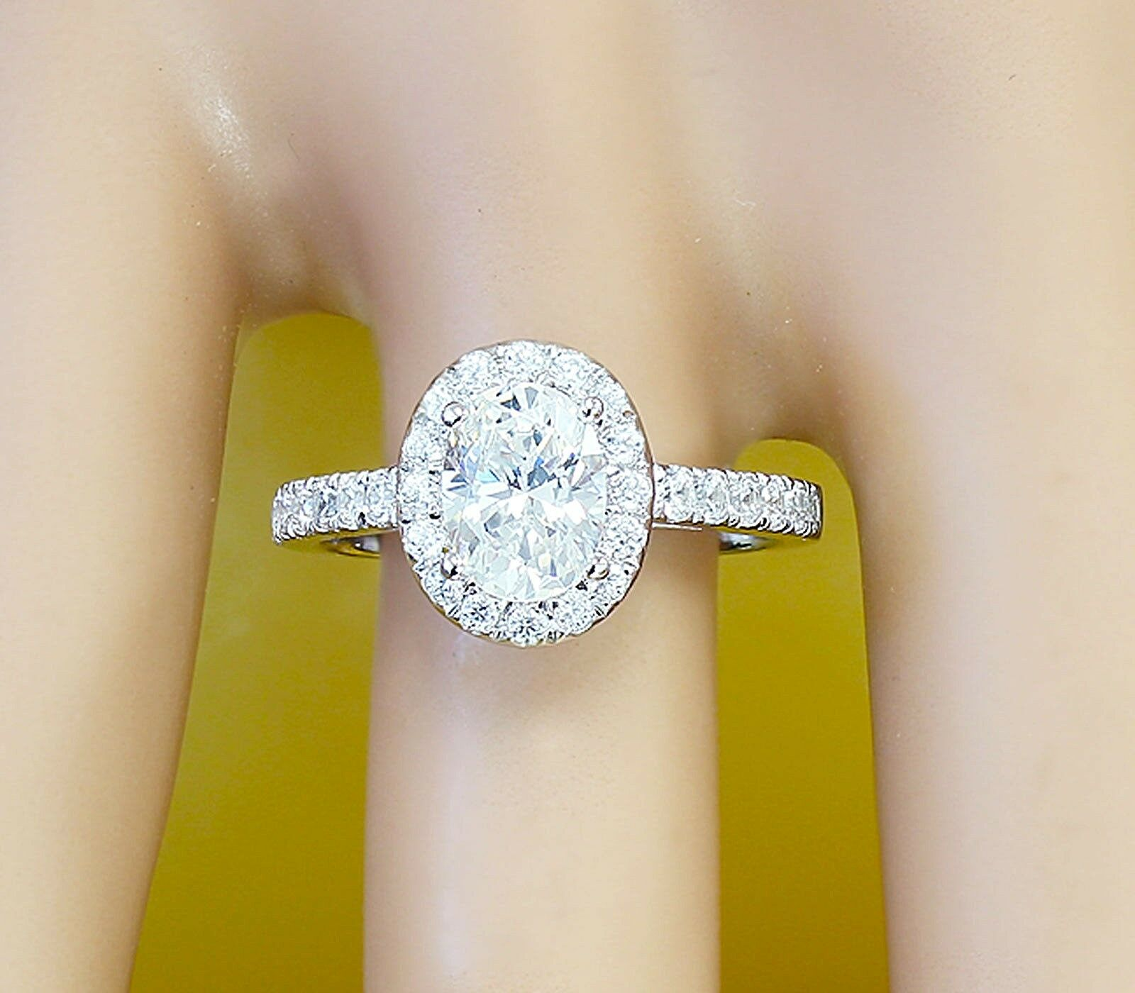 14K White gold Oval Moissanite and Diamond Engagement Ring Bridal Halo 1.45ctw