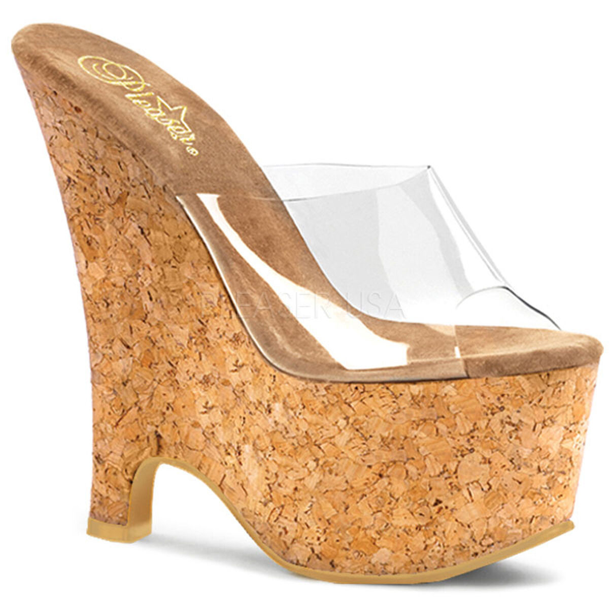 PLEASER Sexy Cork Platform Wedges 6 1 2 2 2  Heels Slip On Exotic shoes BEAU601 C CK cb78d4