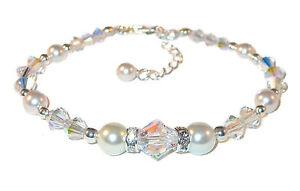 SWAROVSKI-CRYSTAL-PEARL-Elements-Sterling-Silver-Bridal-Bracelet-WHITE-CLEAR-AB
