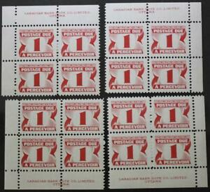 Canada-J28i-MNH-OG-M-S-Of-4-Plate-Blocks-3rd-Issue-Postage-Due-DF-PVA