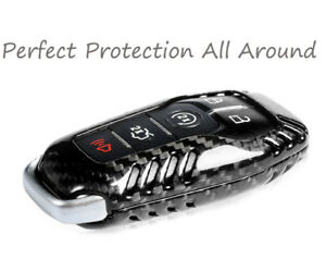 Black Genuine Carbon Fiber Remote Key Fob Case Cover For Ford Mustang Automatic