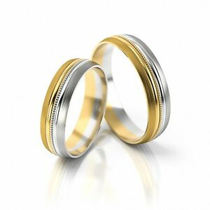 1 Paar Trauringe Hochzeitsringe Gold 750 - Bicolor - Breite 5,0mm - Top Design ! GüNstigster Preis Von Unserer Website