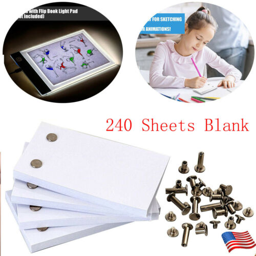 4x 60 sheet Blank Flip Book Paper with Holes 240 Sheets Flipbook Animation Paper