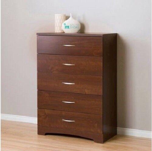 wholesale dealer d7223 b1957 Tall Dresser for Bedroom Kids 5 Drawer Chest Storage Cabinet Organizer  Cherry