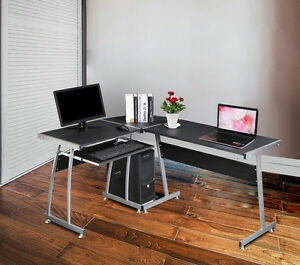 L shape designer computer desk corner pc table study home for Designer computer desks for home