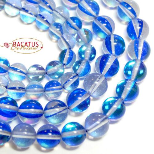 1 Strang #4266 Kristall *Schimmer* 6-8 mm Bergkristall Perlen gefärbt Blau