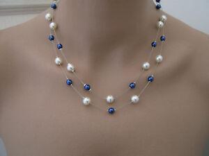 Collier perles Bleu roi marine Ivoire crème robe mariée mariage ... e9944ef37e1e