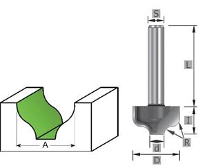 HM Karnisfräser Z=2 Profilfräser Schaft 8//12mm MAN vorschub geeignet SK1055 HW-