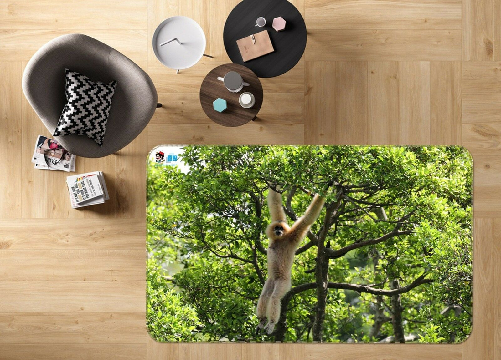 3D Forest Monkey 790 Non Slip Rug Mat Room Mat Quality Elegant Photo Carpet AU