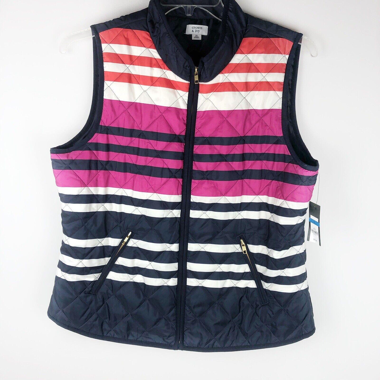 NWT Crown & Ivy Womens XL Striped Blue Pink White Vest