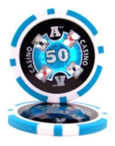 25 Light Blue $50 Ace Casino 14g Clay Poker Chips New Get 1 Free Buy 2