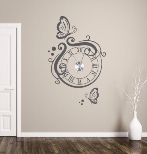 Wanduhr Wandtattoo Uhr Wohnzimmer Wandsticker Wandaufkleber modern Uhrwerk TKU2