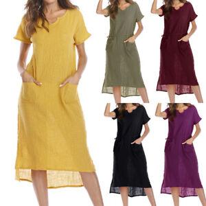d29b448f644 Women Summer Plus Size S-5XL Casual Loose Pocket Cotton Linen Long ...