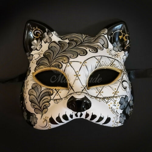 Gatto Cat Venetian Halloween Costume Masquerade Mask WhiteBlack
